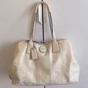 Coach Ivory Purse with Lime Green Lining